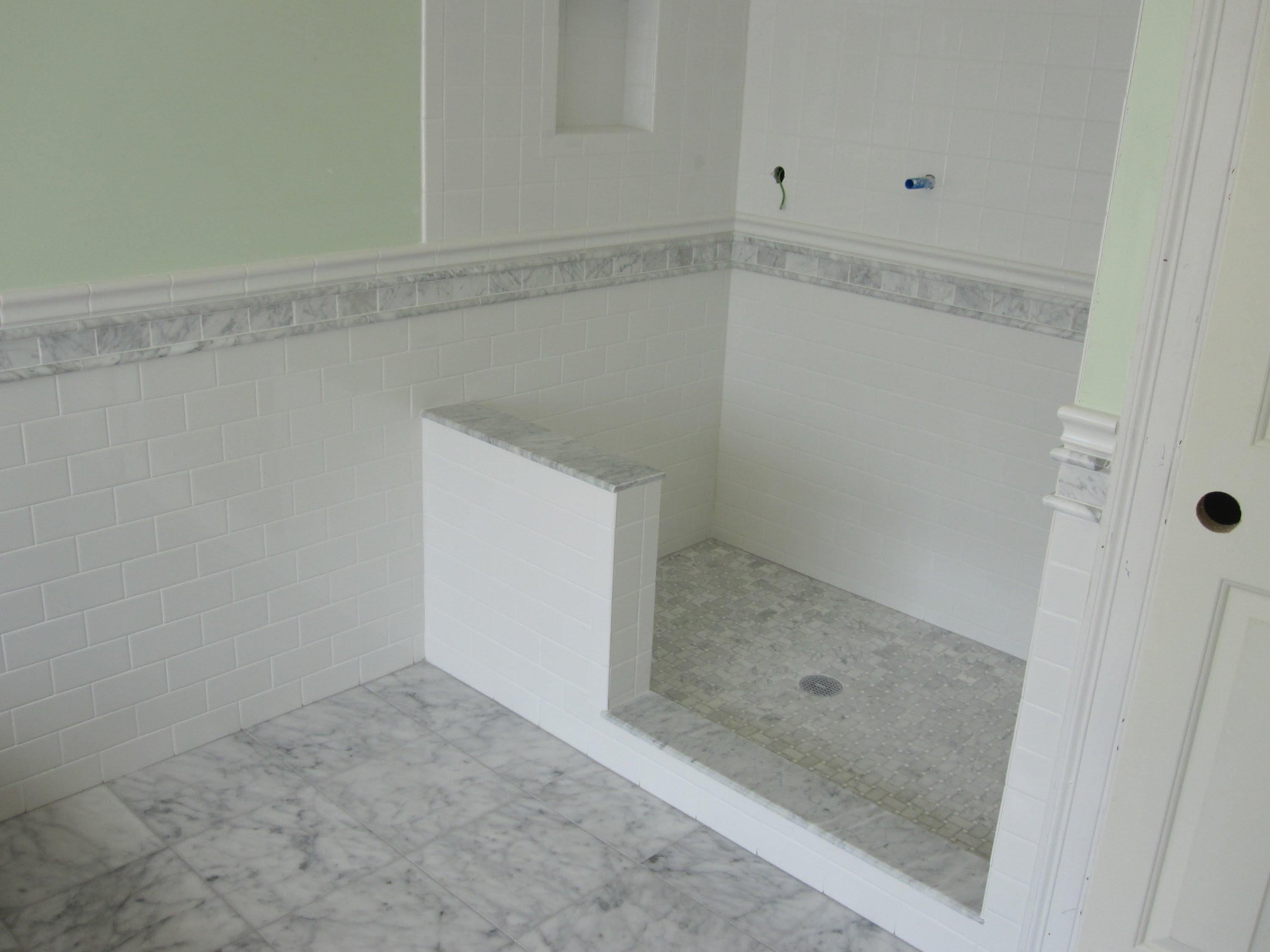 Fabulous Marble And Subway Tile Master Bathroom Youtube Inside Set Bathroom Chair Rail Ideas House Generation