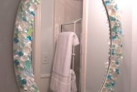 Fabulous Mirror In Small Bathroom Is A Diy With Sea Glass, Crystals And Glass intended for Awesome Beach Themed Bathroom Mirrors