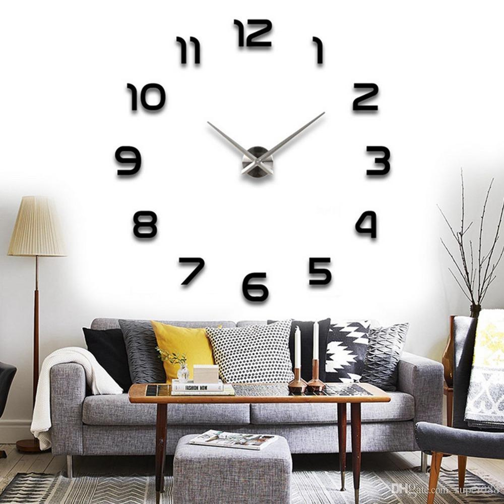 Fabulous Modern Arabic Numbers 3D Frameless Large Wall Clock Style Watches inside Lovely Living Room Wall Clocks
