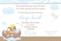 Fabulous Noah's Ark Baby Shower Invitation -Twins Baby Shower Invitation in Beautiful Baby Shower Invitations For Twins