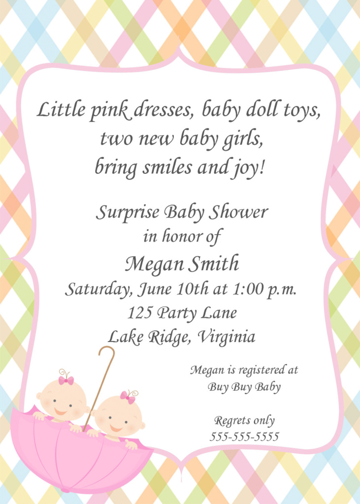 Fabulous Perfect Twin Girl Baby Shower Invitations 16 - Wyllieforgovernor throughout Baby Shower Invitations For Twins