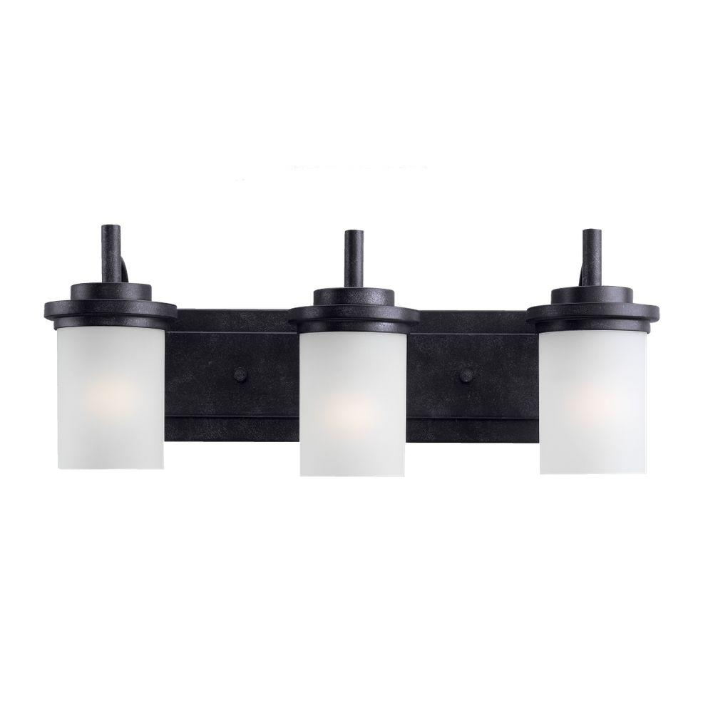 Fabulous Sea Gull Lighting Winnetka 23 In. W 3-Light Blacksmith Vanity Light pertaining to Black Bathroom Vanity Light