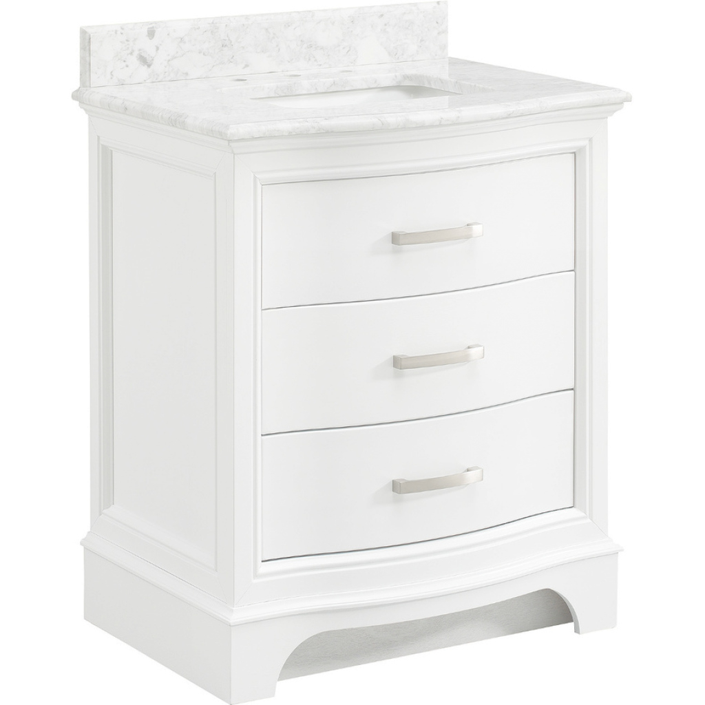 Fabulous Shop Allen + Roth Tennaby White Marble Single Sink Vanity With for 30 White Bathroom Vanity