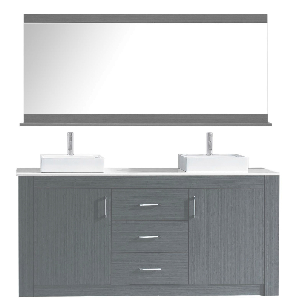 "Fabulous Tavian 60"" Double Bathroom Vanity Set Cabinet Set With Mirror inside Best of Bathroom Vanity Set With Mirror"