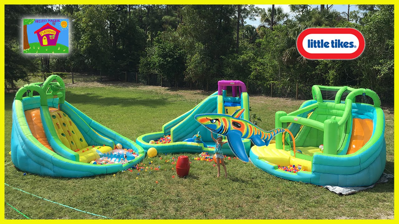 Fabulous The Biggest Giant Inflatable Water Slide Little Tikes Waterpark intended for Lovely Backyard Inflatables