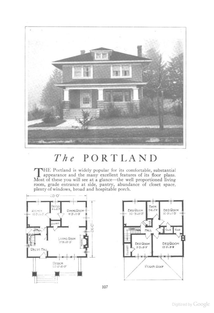 Fabulous The Portland (An American Foursquare Kit House/house Plan) - Homes in American Foursquare Floor Plans Images