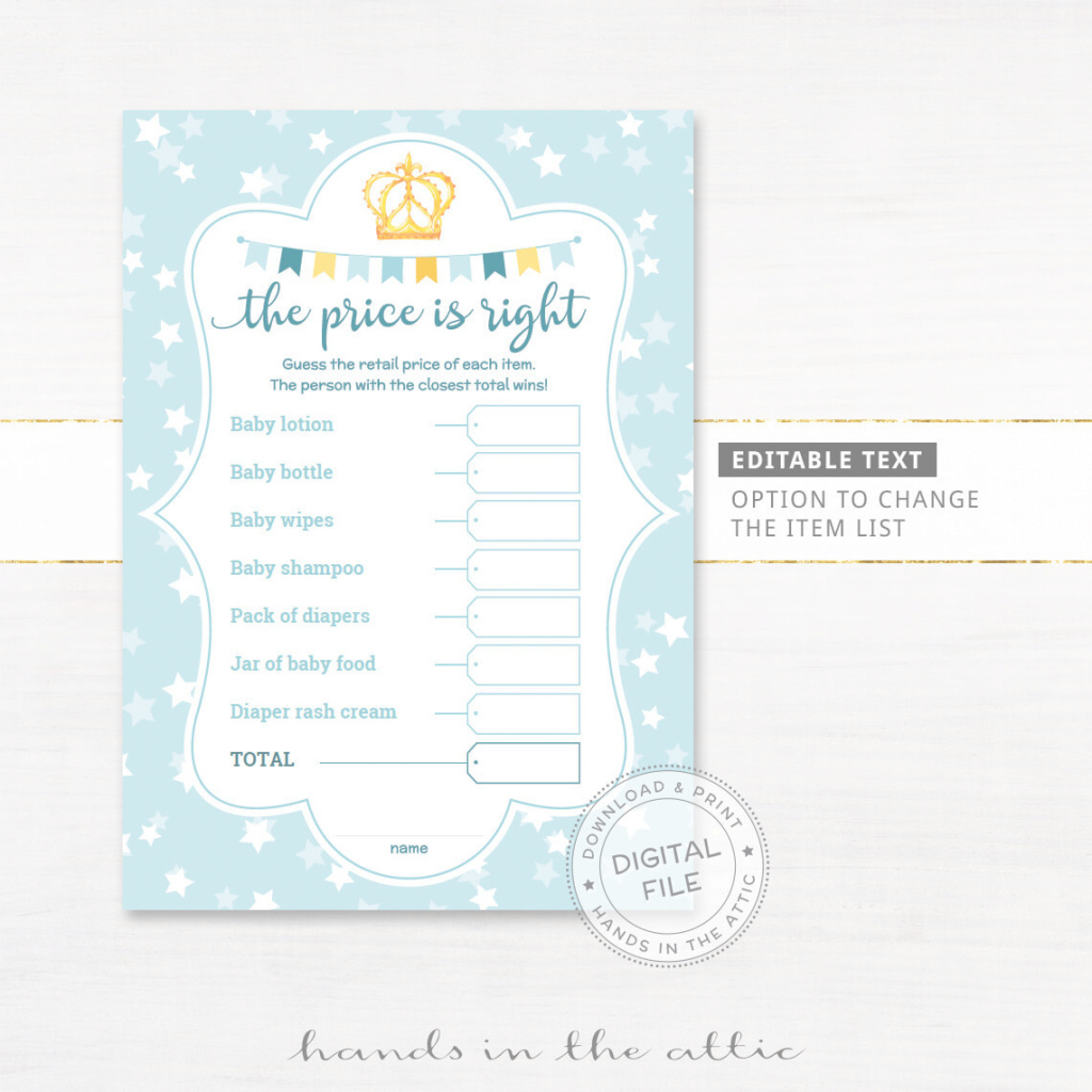 Fabulous The Price Is Right Baby Shower Game | Editable | Printable pertaining to Beautiful Baby Shower Price Is Right