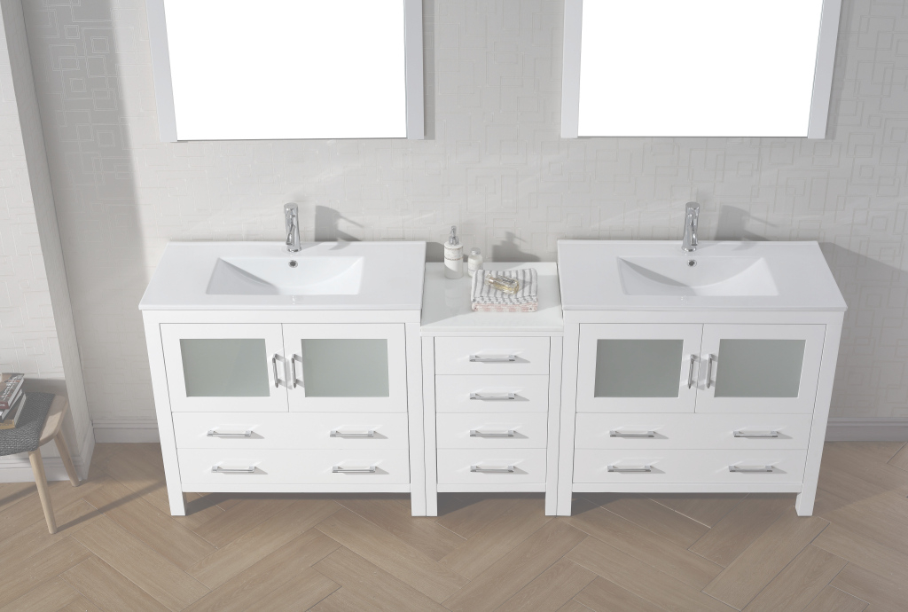 Fabulous Virtu Usa Dior 90 Double Bathroom Vanity Set In White | Bathtubs Plus throughout Bathroom Double Vanity