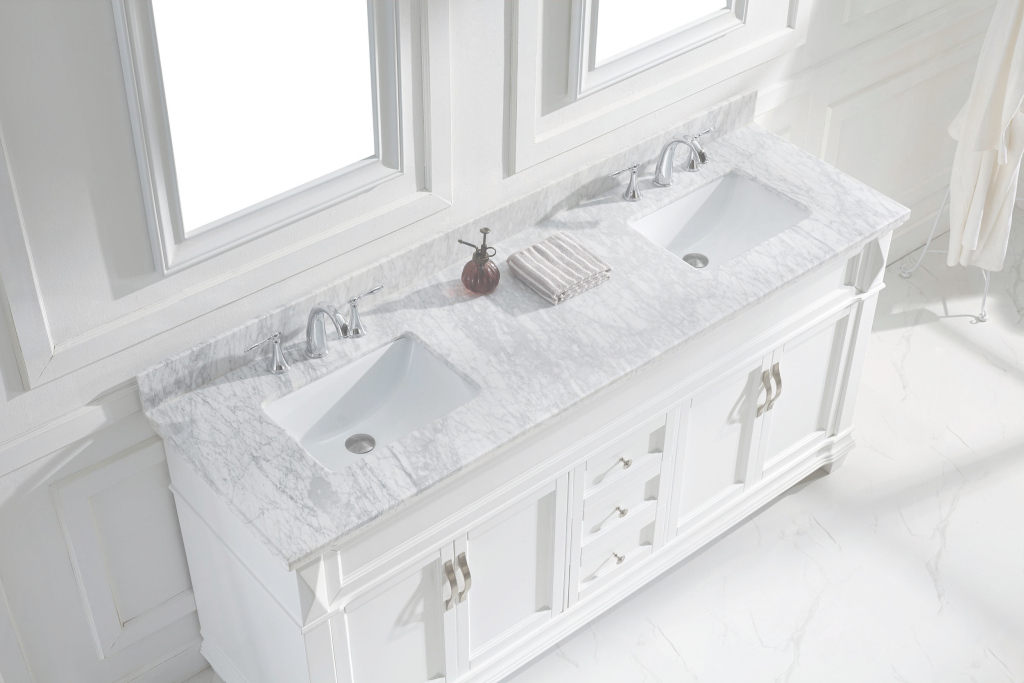 Fabulous Virtu Usa Victoria 72 Double Bathroom Vanity Set In White | Bathtubs within 72 Bathroom Vanities