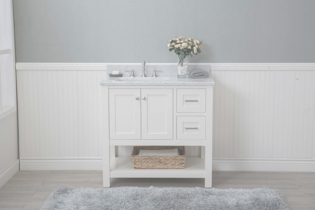 "Fabulous White Shaker 36"" Bathroom Vanity Open Shelf W/ Marble Top pertaining to Fresh Marble Bathroom Vanity"