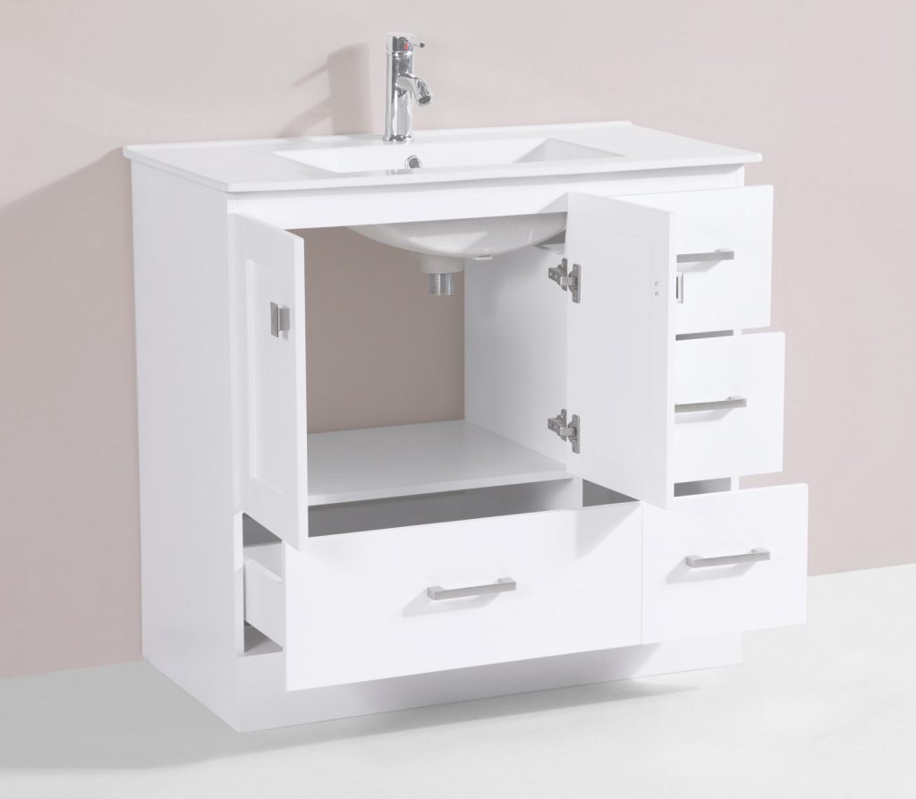 "Fancy 36"" Redondo White Single Modern Bathroom Vanity With Integrated Sink inside Lovely 36 White Bathroom Vanity"