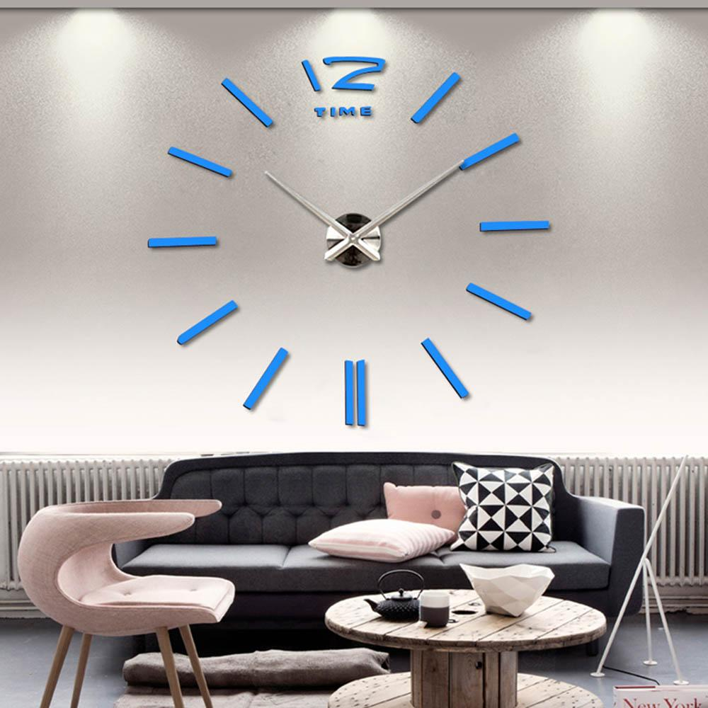 Fancy 3D Large Wall Clock Rushed Mirror Sticker Diy Living Room Decor inside Living Room Wall Clocks