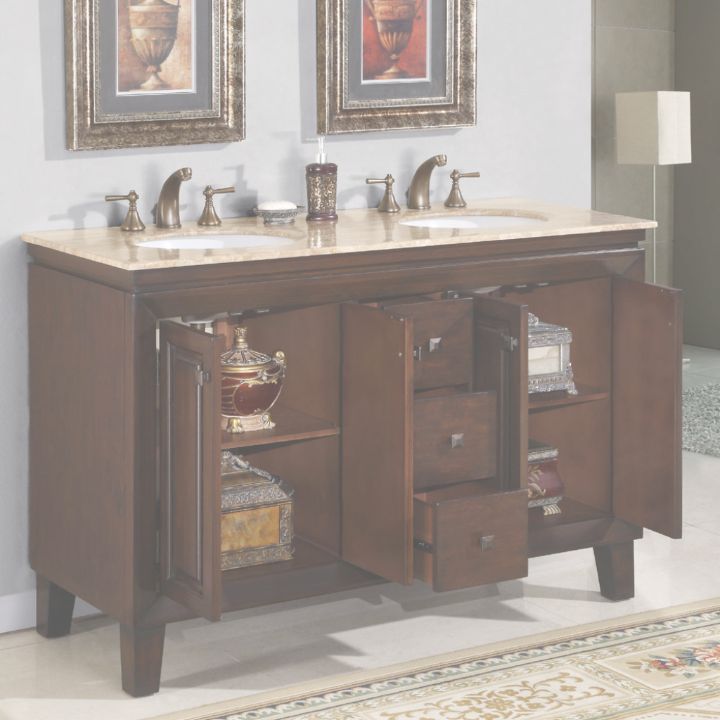 "Fancy 55"" Jessica - Bathroom Vanity Double Sink Cabinet (English Chestnut within Free Standing Bathroom Vanity"