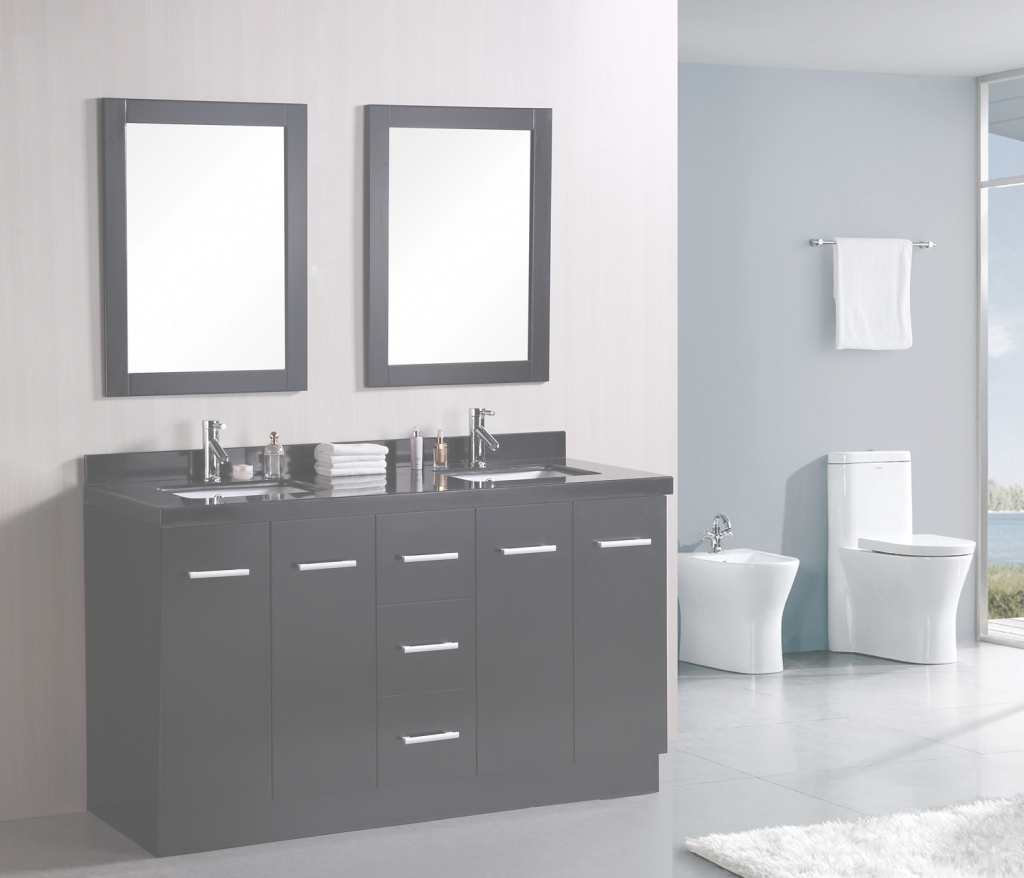 "Fancy 60"" Cosmo (Dec305) Double Sink Vanity Set :: Bathroom Vanities for Best of Small Bathroom Sink Vanity"