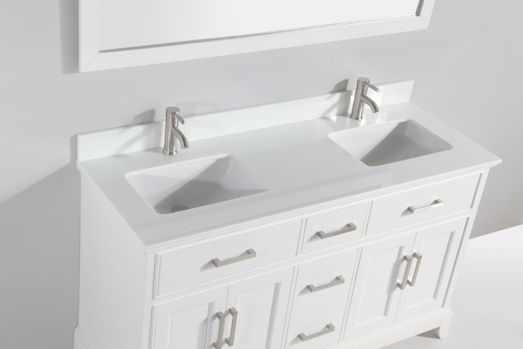 "Fancy 60"" Double Bathroom Vanity Set With Mirror & Reviews 