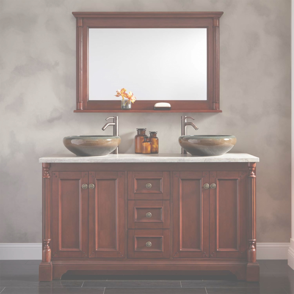 "Fancy 60"" Trevett Double Vessel Sink Vanity - Cherry - Bathroom regarding New Two Sink Bathroom Vanity"