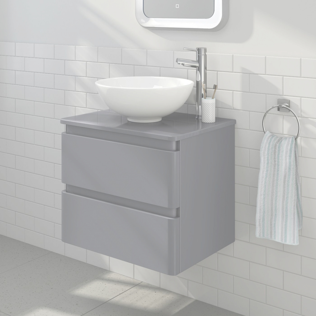 Fancy 600Mm Denver Ii Gloss Grey Countertop Unit & Basin - Wall Hung within Bathroom Vanities Denver
