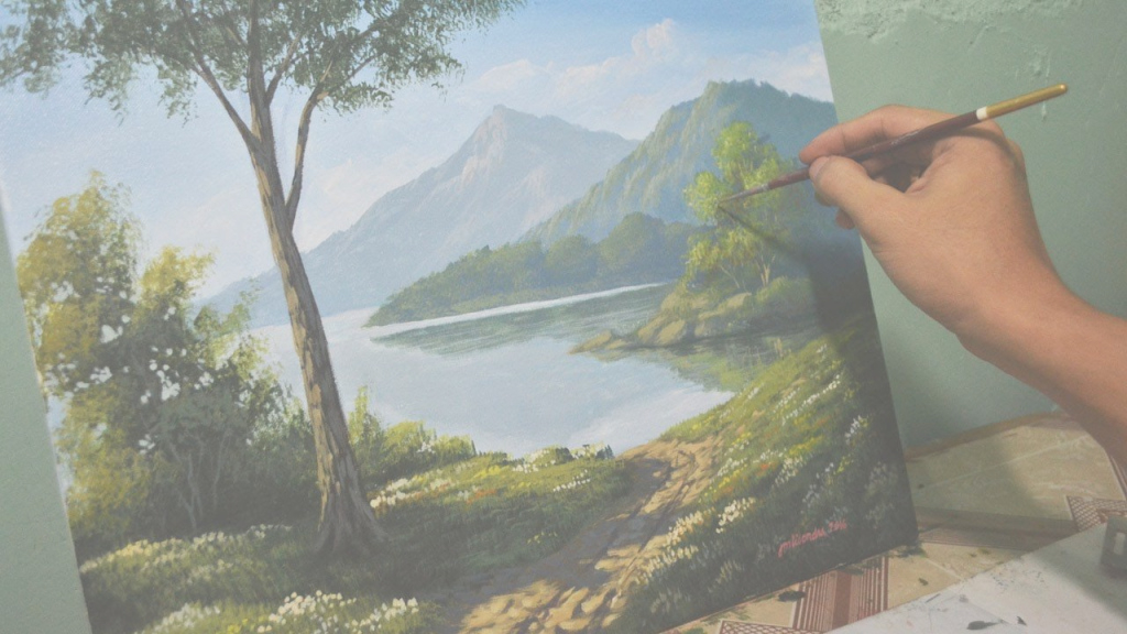 Fancy Acrylic Landscape Painting Lesson - Morning In Lakejmlisondra throughout Fresh Landscape Painting Techniques