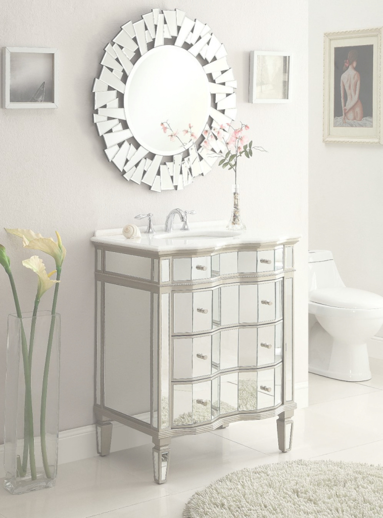 Fancy Adelina 30 Inch Mirrored Bathroom Vanity Cabinet & Mirror for Mirror Bathroom Vanity