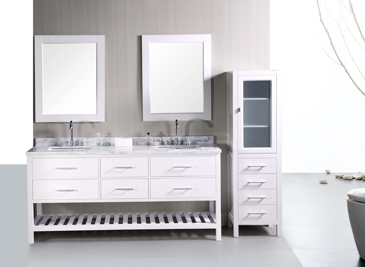 Fancy Adorna 72 Inch Double Sink Bathroom Vanity Set In Pearl White, Solid within Bathroom Vanities Double Sink 72