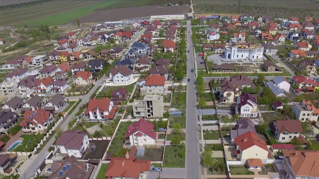 Fancy Aerial View Of Suburban Bedroom Community In Chisinau, Moldova with Bedroom Community