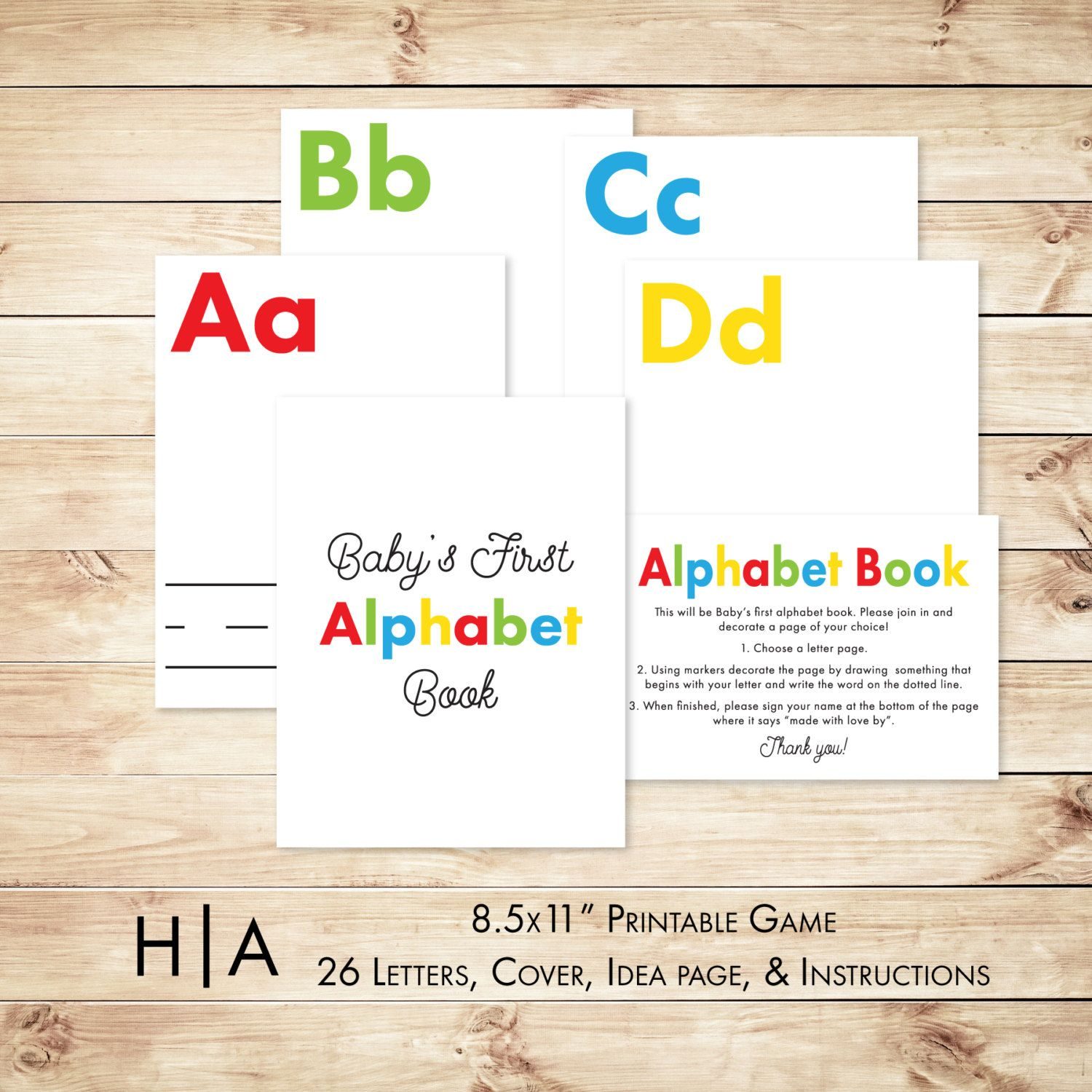 "Fancy Alphabet Book Game Diy Baby Shower Activity Game 8.5X11"" Baby's regarding Baby Shower Activities"