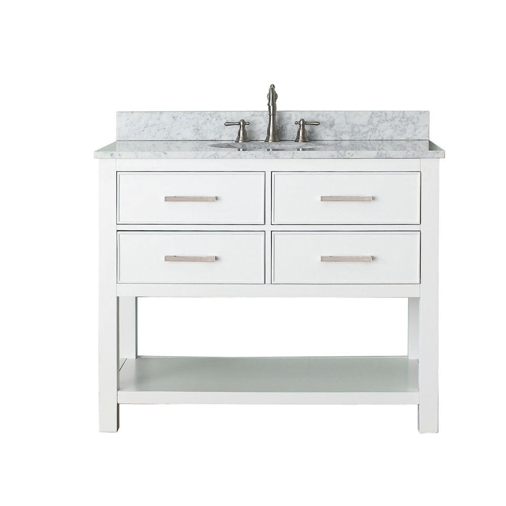 Fancy Avanity Brooks 43 In. W X 22 In. D X 35 In. H Vanity In White With in Beautiful 42 Inch Bathroom Vanity Combo