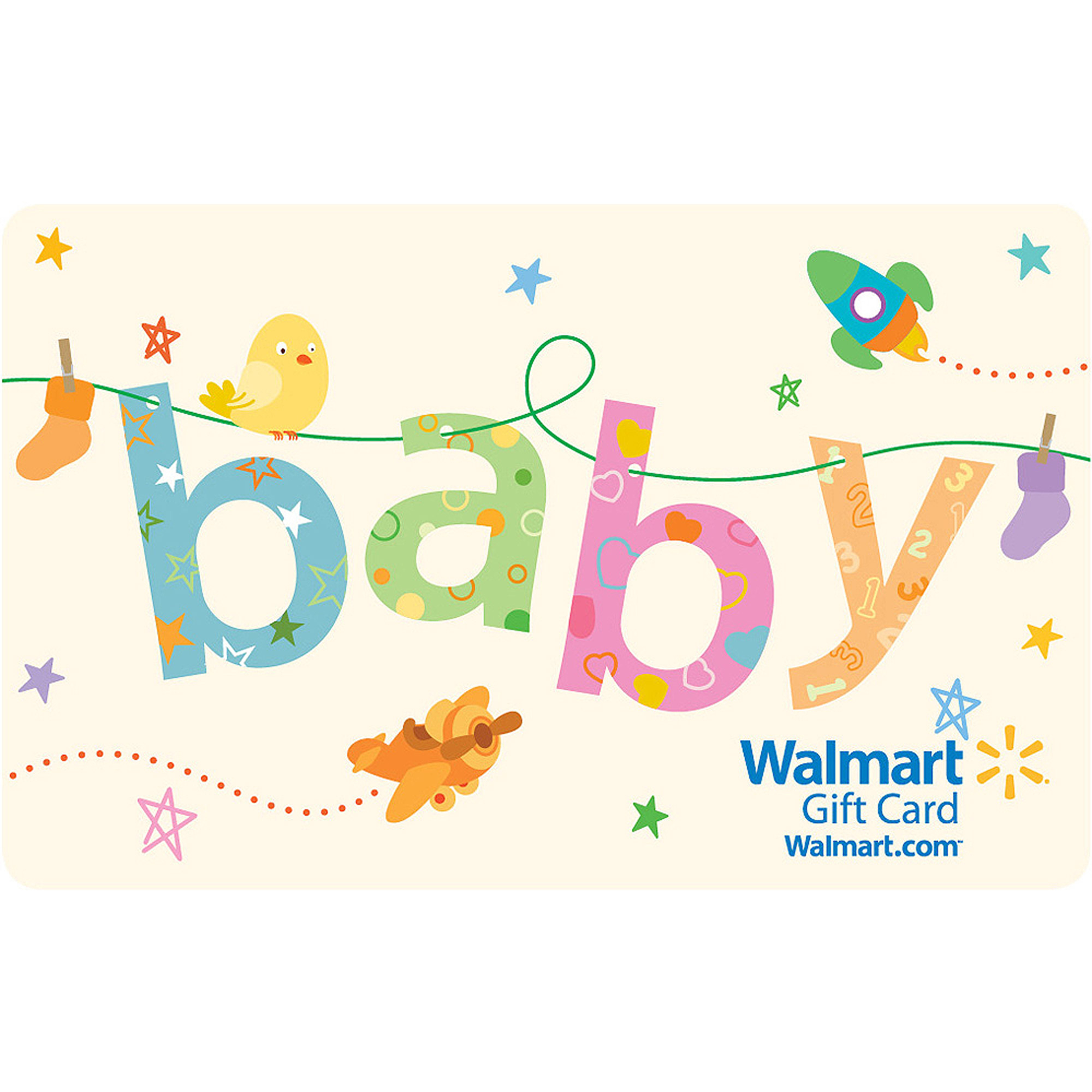 Fancy Baby Clothesline Gift Card - Walmart for Walmart Gift Registry Baby Shower