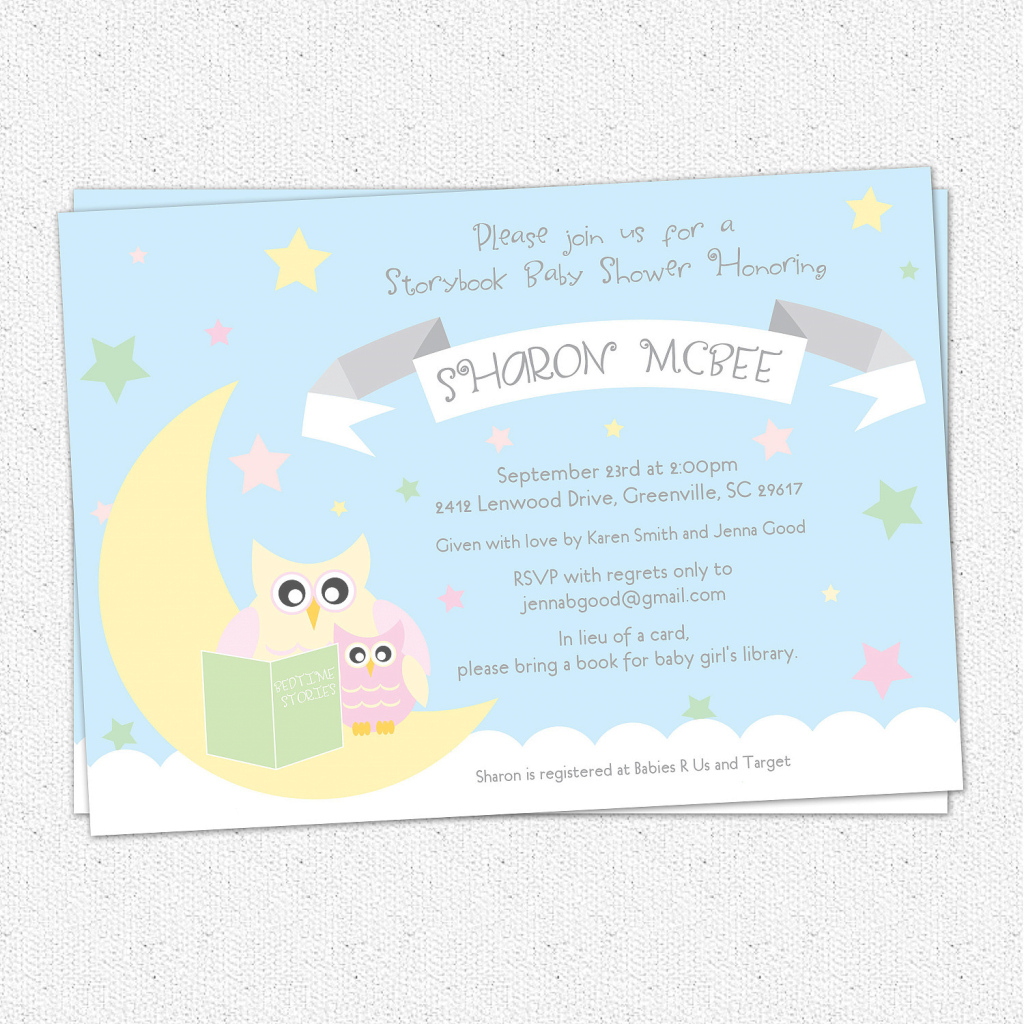 Fancy Baby Shower Invitations, Story Book Themed Mom And Baby Owl, Moon for Review Baby Shower Invitations