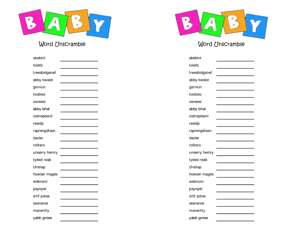 Fancy Baby Shower Unscramble Decoration Photo Scramble Template Image within Baby Shower Unscramble