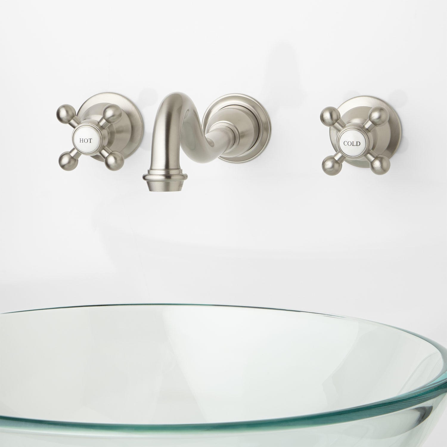Fancy Ballantine Wall-Mount Bathroom Faucet - Cross Handles - Bathroom intended for Cross Handle Bathroom Faucet