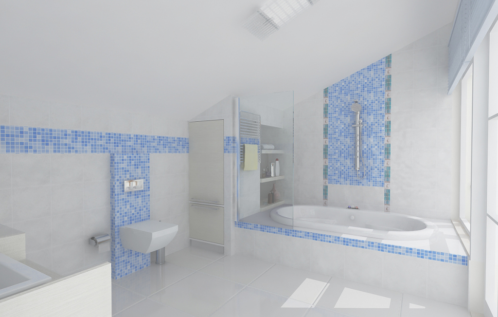 Fancy Bathroom: Alluring Brown Bathroom Decoration With Glass Shower Door with Blue Bathroom Mosaic Tiles