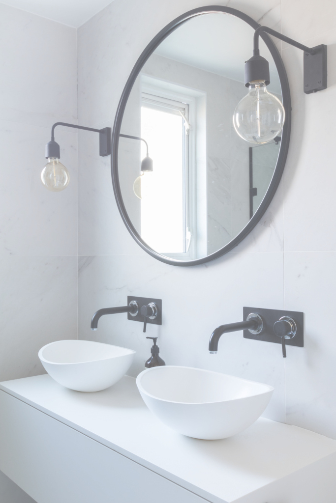 Fancy Bathroom, Marble Tiles, Marble, Black And White Bathroom, Industrial pertaining to Bathroom Sink Mirror