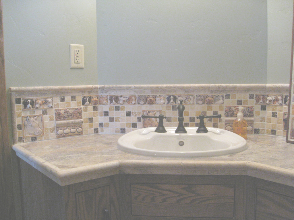 Fancy Bathroom Sink Backsplash With Decorative Handmade Barnyard Animals inside Awesome Bathroom Sink Backsplash