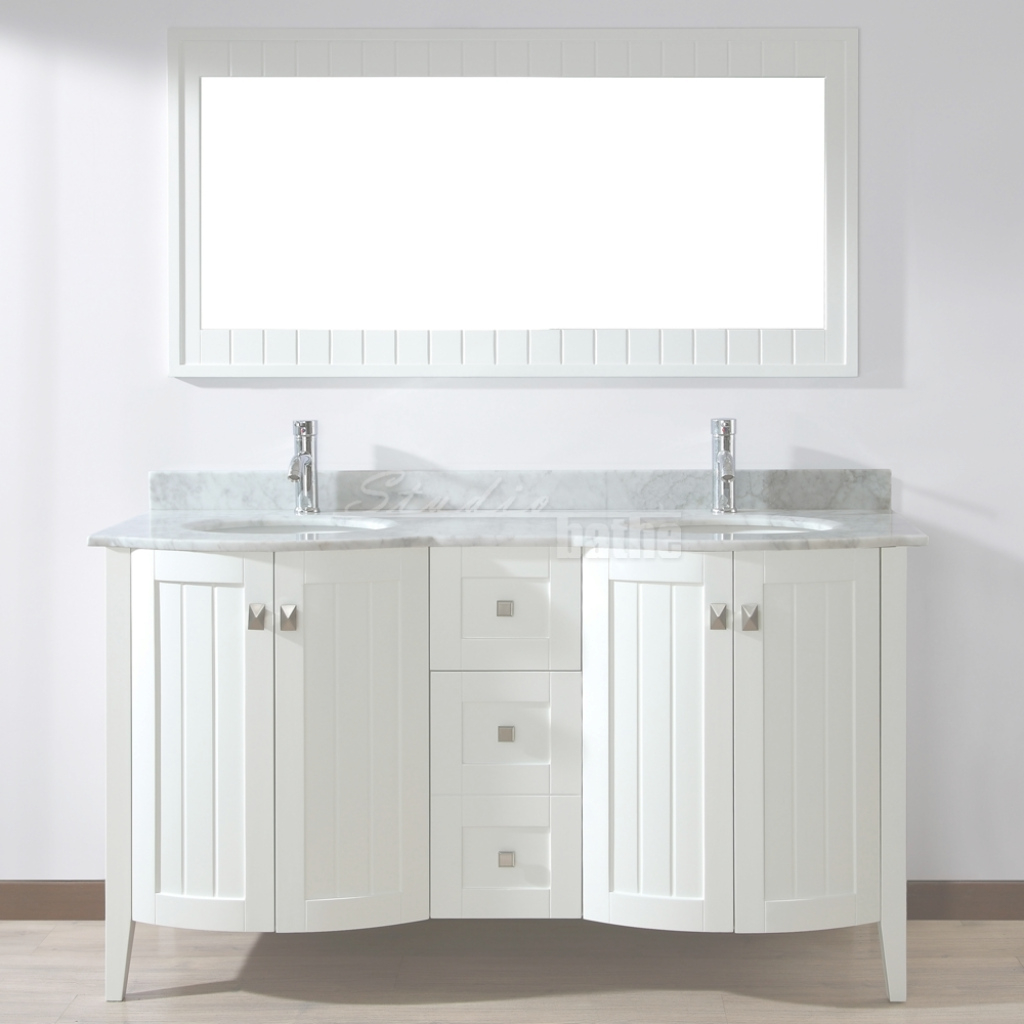 Fancy Bridgeport 60 Inch White Double Sink Bathroom Vanity, Hand-Stained inside New Two Sink Bathroom Vanity