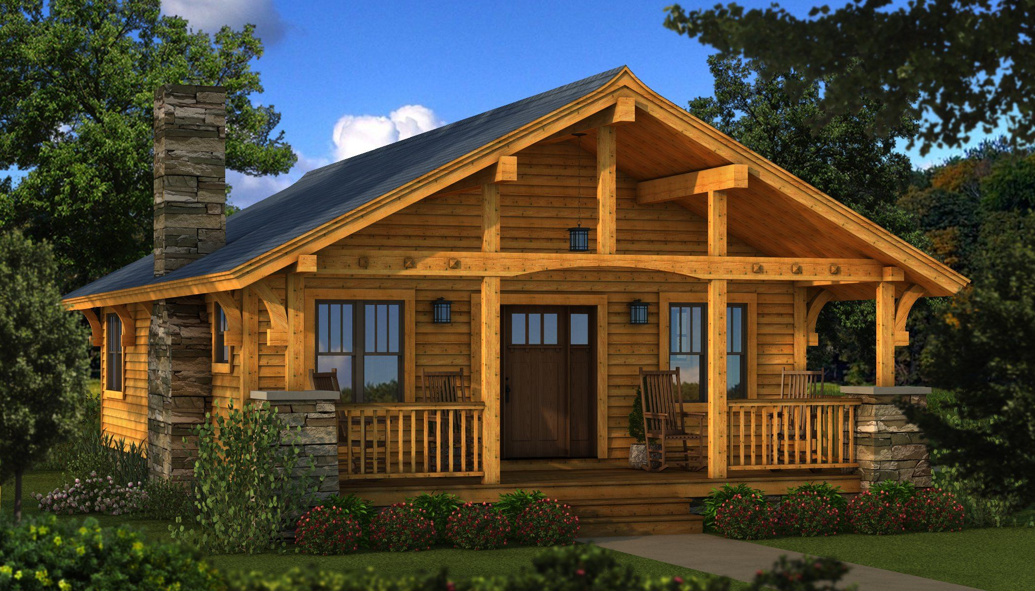Fancy Bungalow 2: Log Cabin Kit - Plans & Information | Southland Log for Bungalow Homes