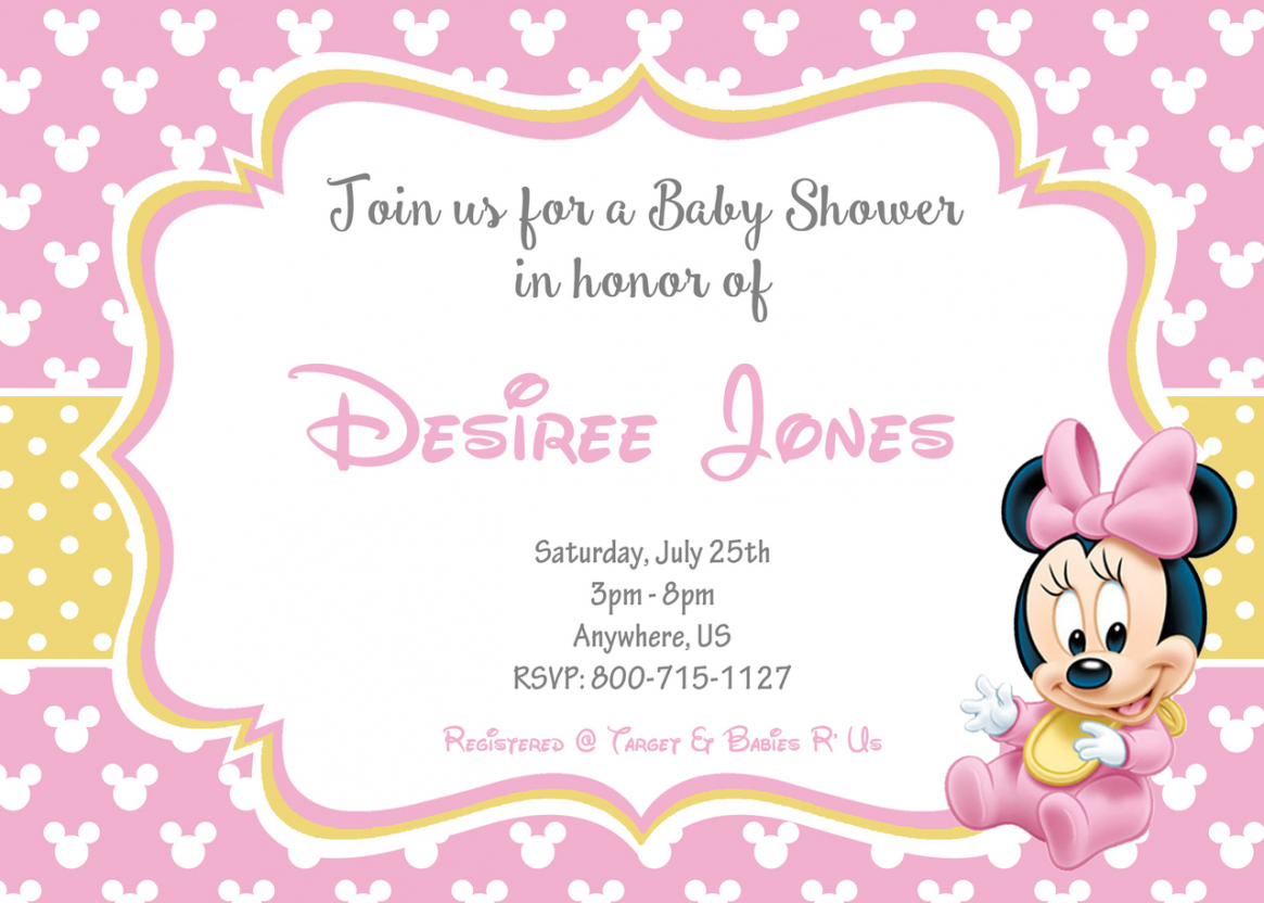Fancy Create Baby Minnie Mouse Baby Shower Invitations Unique - Wallpaper for Review Minnie Mouse Baby Shower Invitations