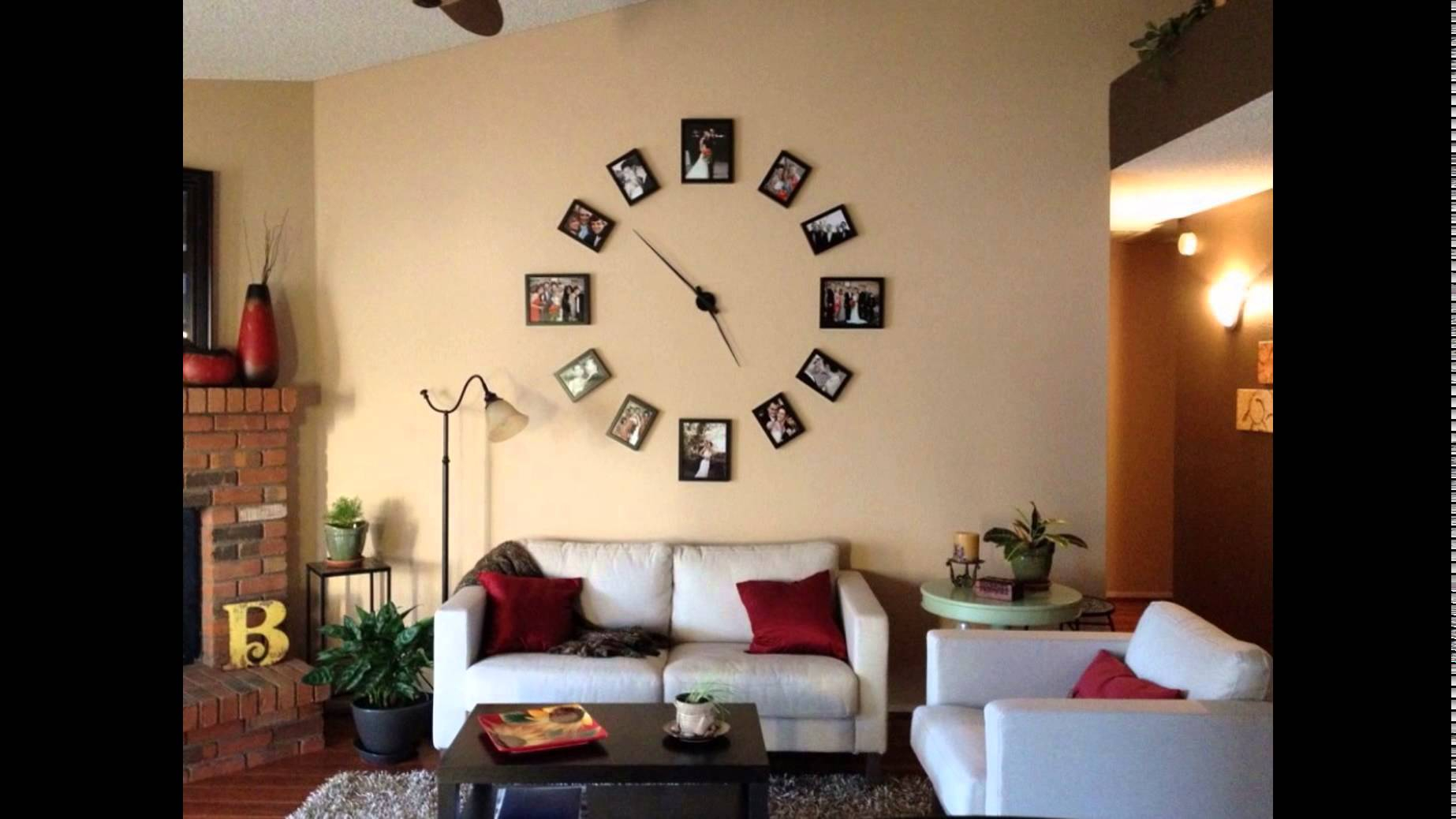 Fancy Creative-Wall-Clock-Photo-Display-Design-For-Minimalist-Living-Room for Living Room Wall Clocks