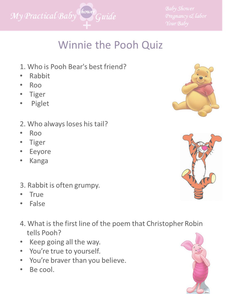 Fancy Decoration Baby Shower Game Winnie The Pooh Quiz Free Games My