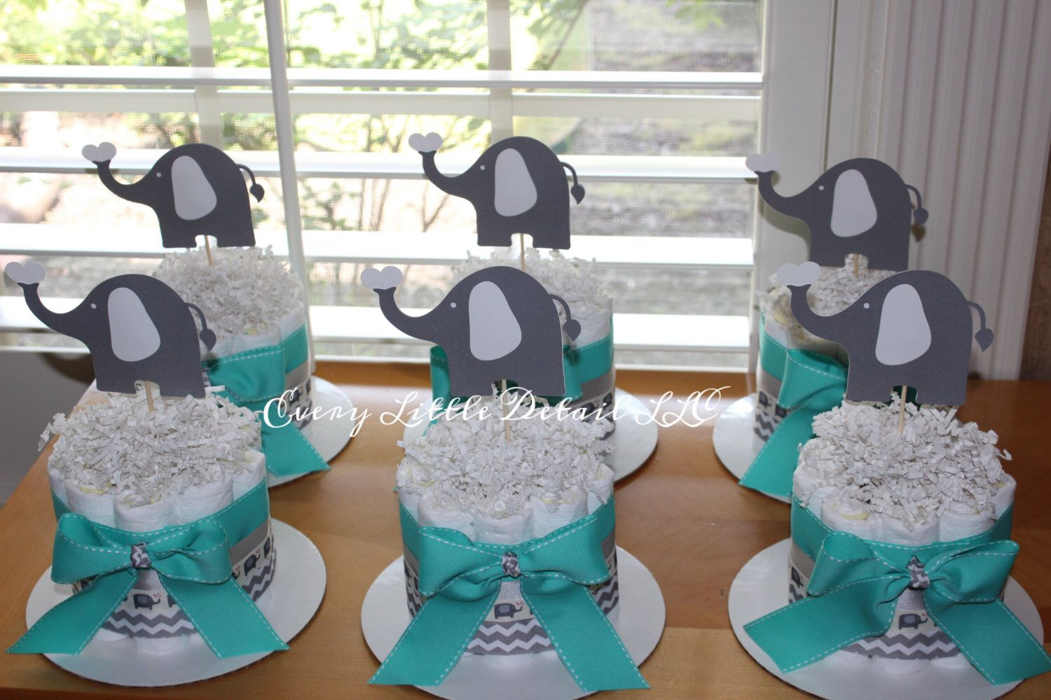Fancy Elephant Mini Diaper Cake Bundle; Elephant Theme Diaper Cake with Elephant Themed Baby Shower Decorations