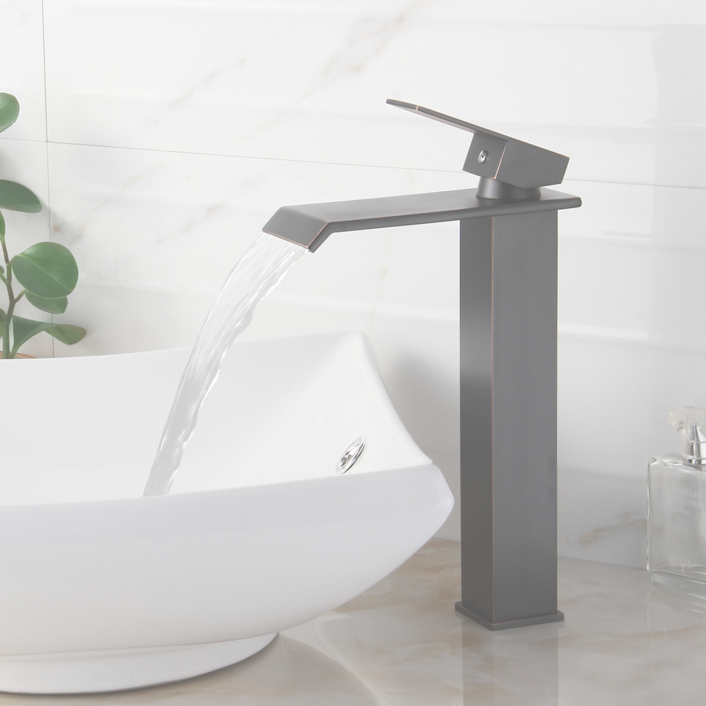 Fancy Elite 8816Orb Oil Rubbed Bronze Watefall Design Single Lever Vessel regarding Fresh Bathroom Faucets For Vessel Sinks