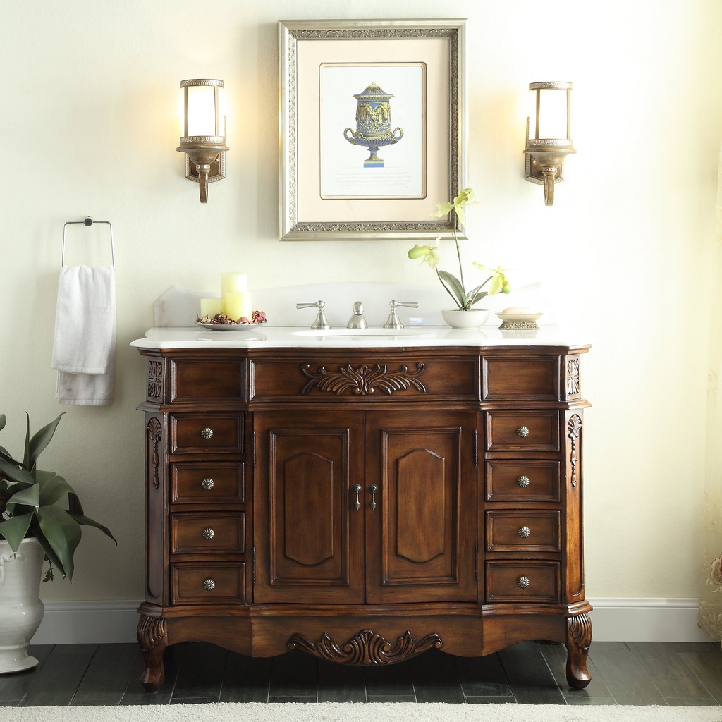 Fancy Fabulous Wall Sconces And Best Traditional Wooden 42 Inch Bathroom regarding Elegant 42 Bathroom Vanity Cabinets