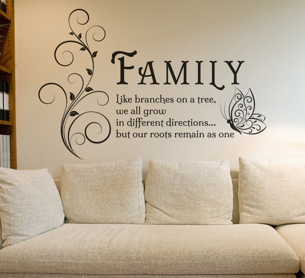 Fancy Family Like Branches Quotes Butterfly Vinyl Wall Art Sticker Flower intended for Unique Tree Wall Decals For Living Room
