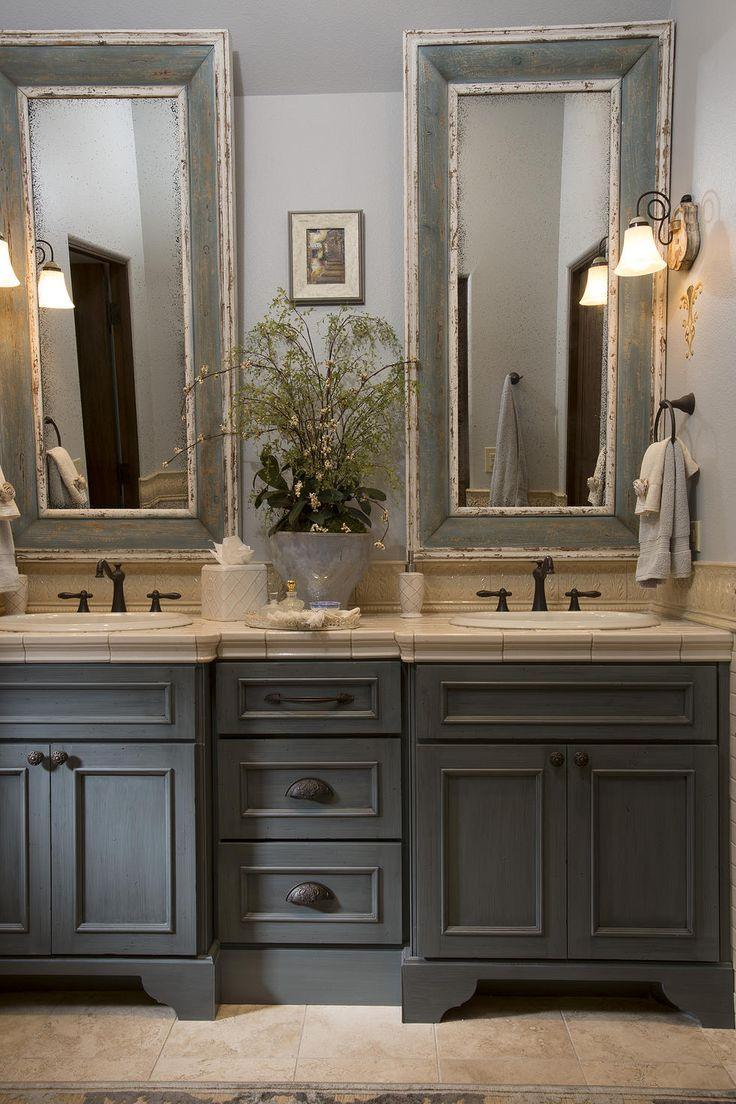 Fancy French Country Bathroom, Gray Washed Cabinets, Mirrors With Painted inside Country Style Bathroom Vanities