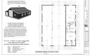 Fancy G450 60 X 50 -10' Apartment Barn Style_Page_1 | Sds Plans | Cabin throughout 60 Pole Barn House Plans