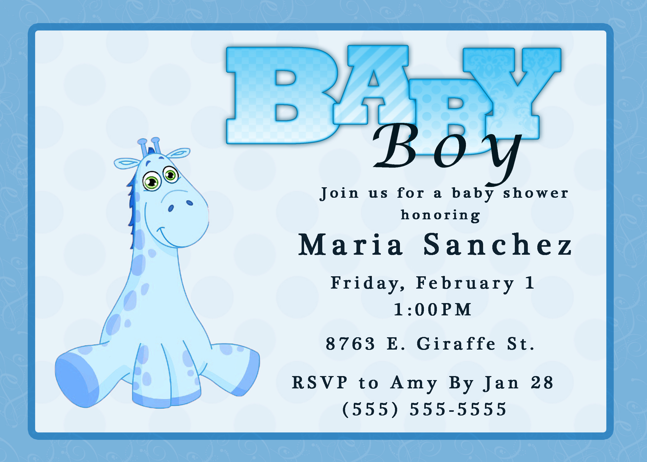 Fancy Giraffe Boy Baby Shower Invitation | Kustom Kreations for New Baby Boy Baby Shower Invitations