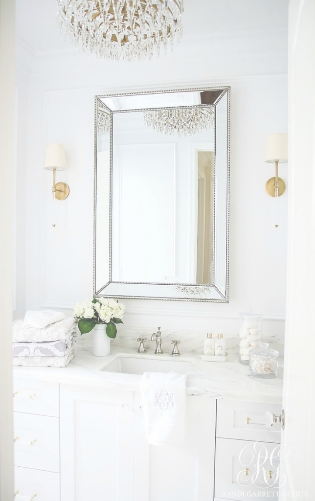 Fancy Glam Transitional Guest Bathroom Reveal - With Marble Silver And with Brass Bathroom Mirror