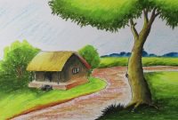 Fancy How To Draw A Village Landscape With Oil Pastels | Episode-6 – Youtube inside Set Landscape Drawing For Class 8