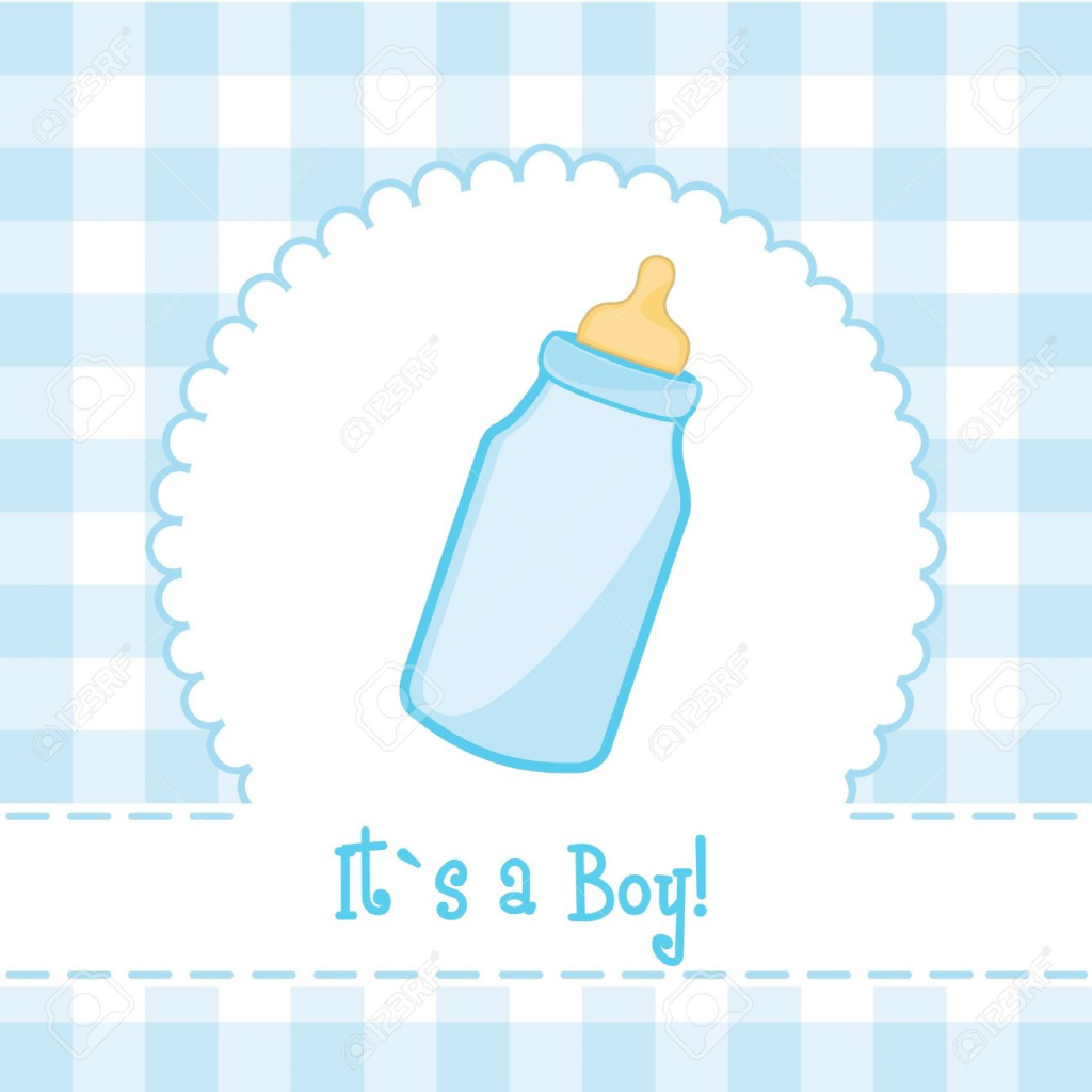 Fancy Its A Boy Card With Baby Bottle, Baby Shower. Illustration Royalty with Luxury Baby Shower Its A Boy