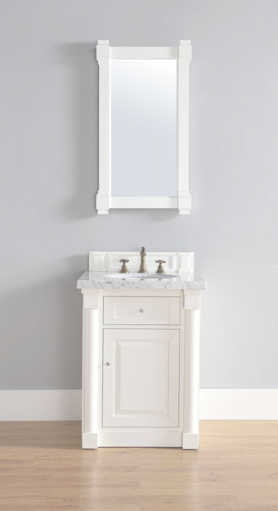 "Fancy James Martin New Haven Collection 26"" Single Vanity, Cottage White with Fresh James Martin Bathroom Vanities"